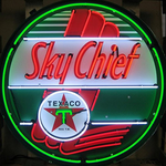 Texaco Sky Chief Neon Sign in Metal can