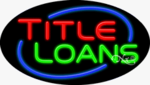 Title Loans Oval Neon Sign
