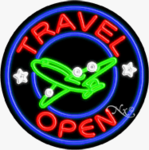 Travel Circle Shape Neon Sign