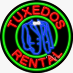 Tuxedos Rental Circle Shape Neon Sign