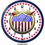 "US Eagle Shield 20"" Neon Clock"