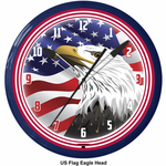 "US Flag Eagle 20"" Neon Clock"