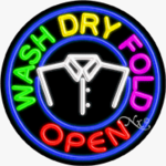 Wash Dry Fold Circle Shape Neon Sign