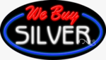 We Buy Silver Oval Neon Sign