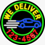 We Deliver with Phone Number Circle Shape Neon Sign