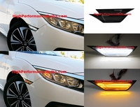2016 2017 2018 Honda Civic Smoked Lens LED Switchback Amber/White Side Markers