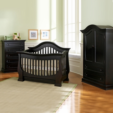 Baby Appleseed Davenport 3 Piece Nursery Set Convertible Crib Armoire And 5 Drawer Chest In