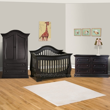 Baby Appleseed Davenport 3 Piece Nursery Set Convertible Crib Armoire And Double Dresser In