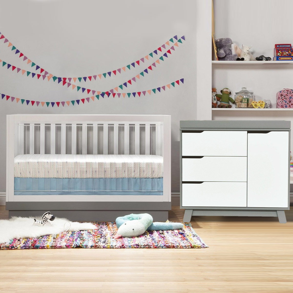 Babyletto 2 Piece Nursery Set Acrylic Harlow 3 In 1 Convertible Crib And Hudson Changer Dresser Two Tone Grey White Free Shipping