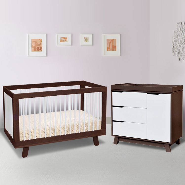 Babyletto 2 Piece Nursery Set Hudson 3 In 1 Convertible Crib And Changer Dresser Two Tone Espresso White Free Shipping