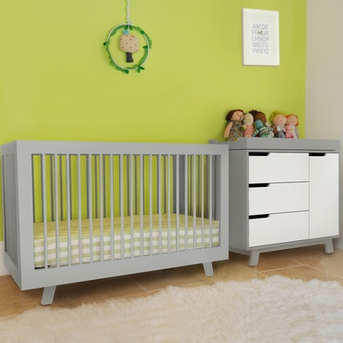 babyletto 2 piece nursery set hudson 3 in 1 convertible crib and hudson changer dresser in two. Black Bedroom Furniture Sets. Home Design Ideas
