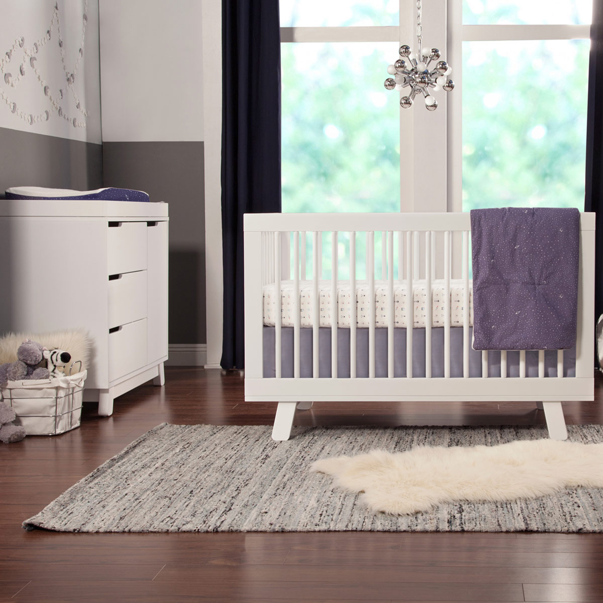 Babyletto 2 Piece Nursery Set Hudson 3 In 1 Convertible Crib And Changer Dresser White Free Shipping