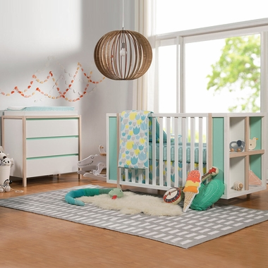 Babyletto Bingo 2 Piece Nursery Set 3 In 1 Convertible Crib And Storage Combo Drawer Changer Dresser White Washed Natural With Cool Mint