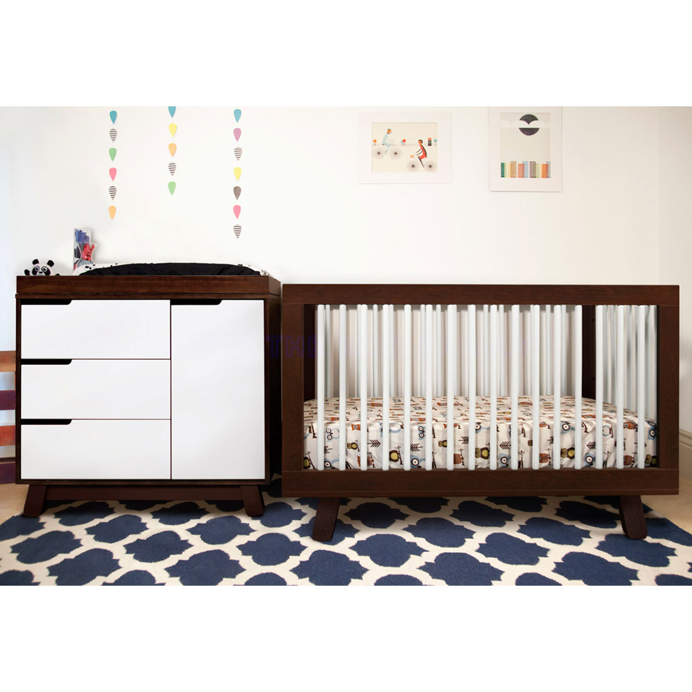 Babyletto Hudson 3 In 1 Convertible Crib Two Tone Espresso And White Free Shipping
