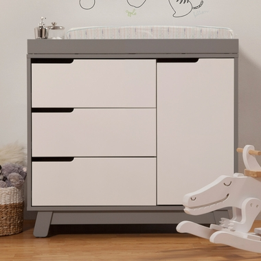 Babyletto Hudson Changer Dresser In Two Tone Grey And White Click To Enlarge