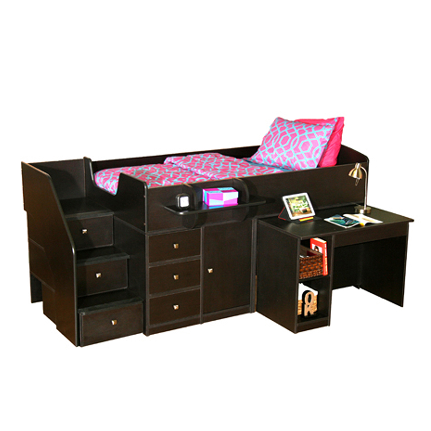 Berg Furniture Sierra Captain S Full Bed With Pull Out Desk Stairs Free Shipping