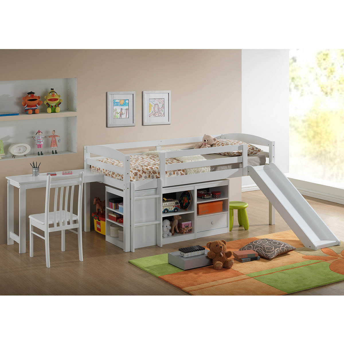 Broyhill Kids Destin Twin Size Junior Loft Bed With Slide In White Free Shipping