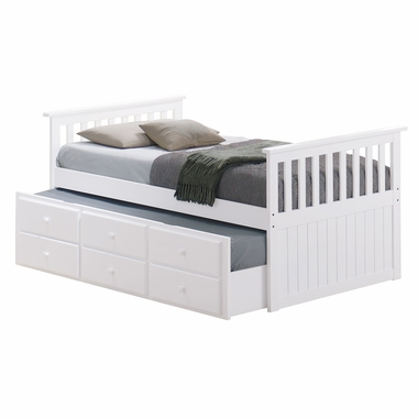 Broyhill kids marco island twin captain bed with trundle for Kids twin bed with drawers