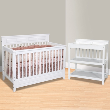 White convertible crib with changing table davinci for Child craft soho crib