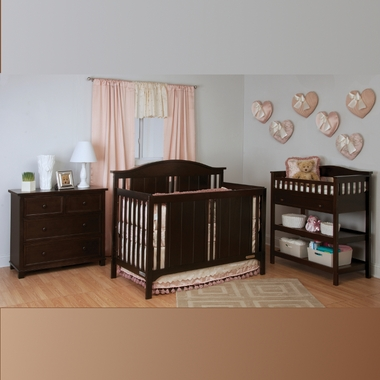 Child Craft 4 Piece Nursery Set Watterson Convertible Crib With Full Bed Rails Changing Table