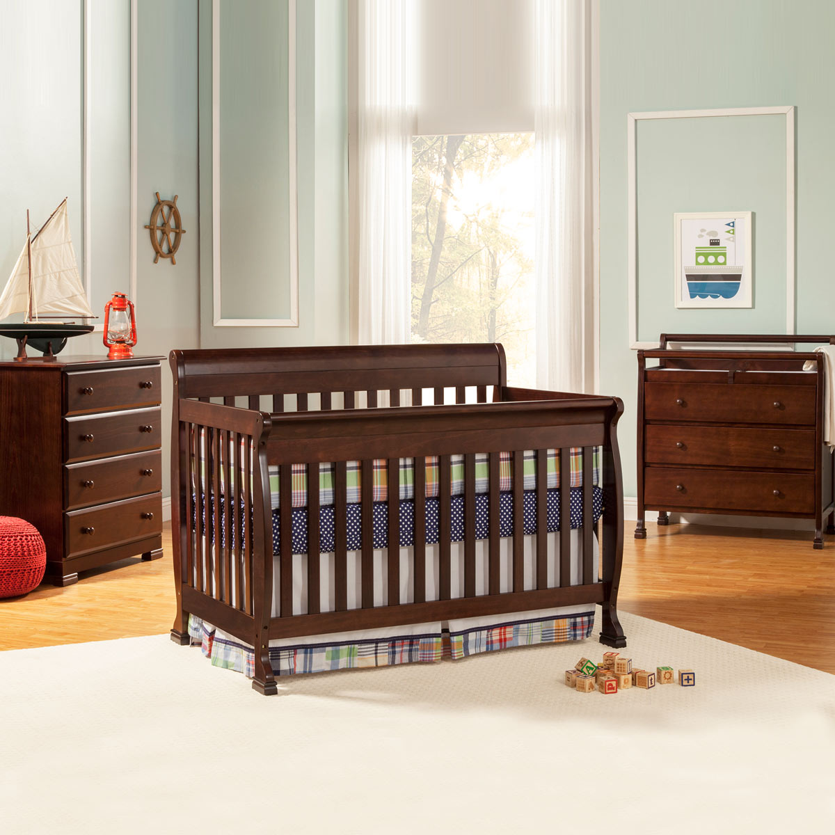 Da Vinci 3 Piece Nursery Set Kalani Convertible Crib Drawer Changer 4 Dresser Cherry Free Shipping Davinci