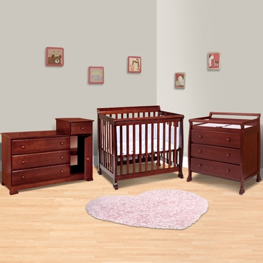 da vinci 3 piece nursery set kalani mini crib 3 drawer changing table and combo changing. Black Bedroom Furniture Sets. Home Design Ideas