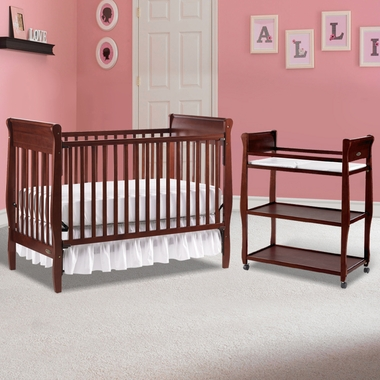 Graco Cribs 2 Piece Nursery Set Sarah Convertible Crib And Changing Table In Cherry