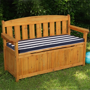Kidkraft Outdoor Storage Bench With Navy Stripe Cushion Free Shipping