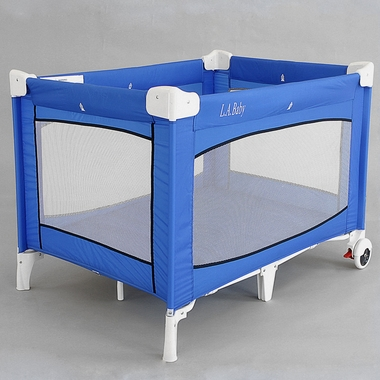 La baby crib yard with locking wheels in blue free shipping for Baby bed with wheels