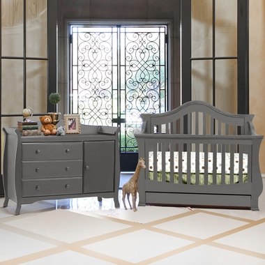 Million Dollar Baby 2 Piece Nursery Set Ashbury 4 In 1 Sleigh Convertible Crib And Combo