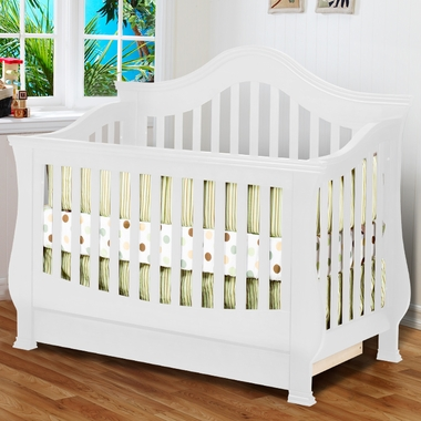 million dollar baby ashbury 4 in 1 sleigh convertible crib with toddler rail in white free shipping. Black Bedroom Furniture Sets. Home Design Ideas