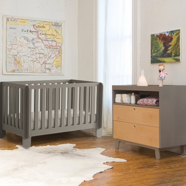 oeuf 2 piece nursery set elephant convertible crib and sparrow dresser in grey free shipping. Black Bedroom Furniture Sets. Home Design Ideas