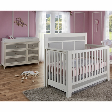 pali 2 piece nursery set nursery set cortina forever crib and double dresser in white grey. Black Bedroom Furniture Sets. Home Design Ideas
