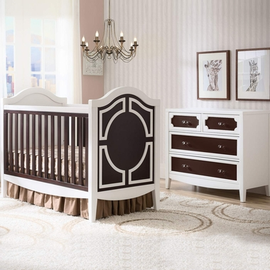 simmons hollywood 2 piece nursery set convertible crib and 4 drawer dresser in white dark. Black Bedroom Furniture Sets. Home Design Ideas