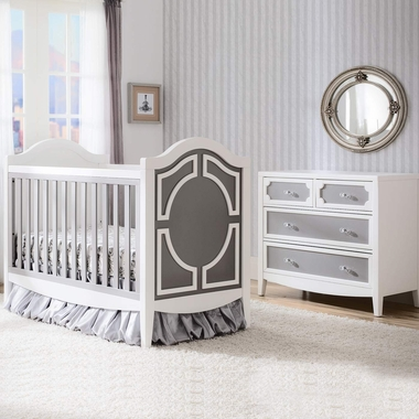 simmons hollywood 2 piece nursery set convertible crib and 4 drawer dresser in white grey. Black Bedroom Furniture Sets. Home Design Ideas