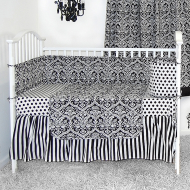 sleeping partners damask black and white 4 piece baby crib bedding set free shipping. Black Bedroom Furniture Sets. Home Design Ideas