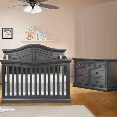 sorelle providence 2 piece nursery set 4 in 1 convertible crib and double dresser in vintage. Black Bedroom Furniture Sets. Home Design Ideas