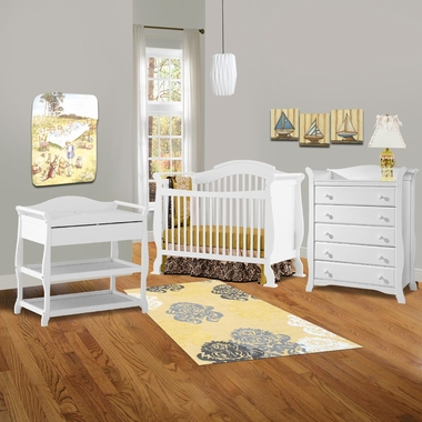 storkcraft 3 piece nursery set valentia convertible crib aspen changing table and avalon 5. Black Bedroom Furniture Sets. Home Design Ideas