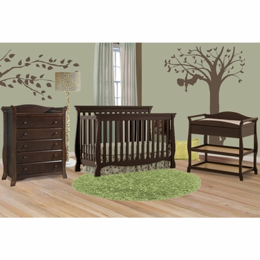 storkcraft 3 piece nursery set venetian convertible crib aspen changing table and avalon 5. Black Bedroom Furniture Sets. Home Design Ideas