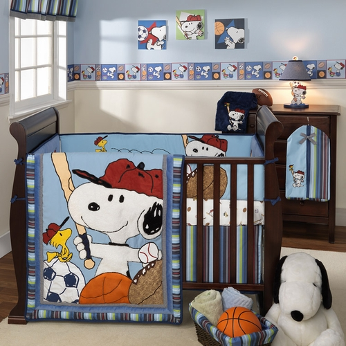 lambs ivy team snoopy baby crib bedding free shipping. Black Bedroom Furniture Sets. Home Design Ideas
