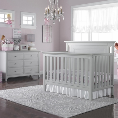 ti amo carino 2 piece nursery set convertible crib and double dresser in misty gray free shipping. Black Bedroom Furniture Sets. Home Design Ideas