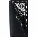 Black Distressed Leather Western Wallet with cross concho