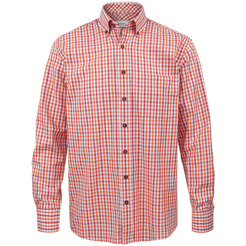 Maroon And Orange Gingham Dress Shirt