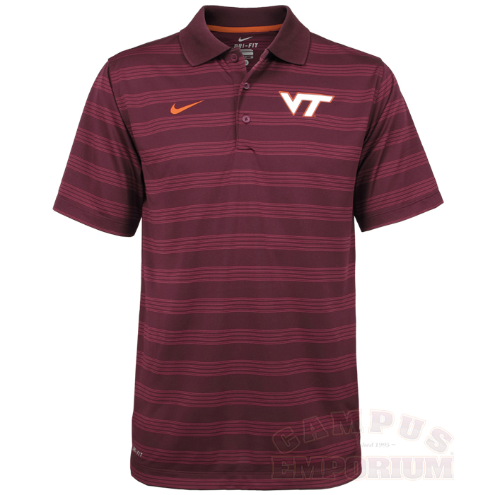maroon virginia tech preseason polo by nike