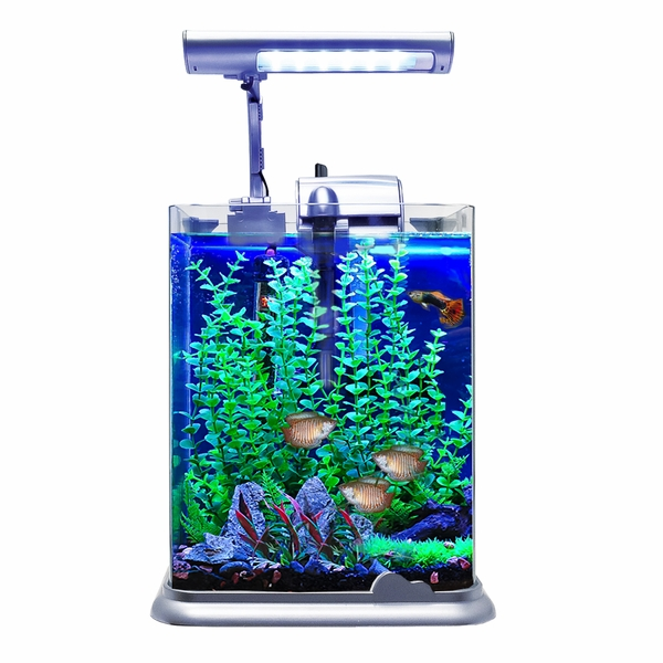 aquarium fish tank nano at20 w led light 2 gallon silver