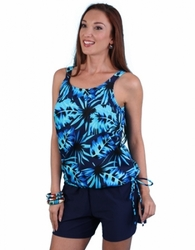 Jodee Blue Maze Pocketed Blouson Top, Women's (Style 2053)