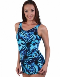 Jodee Blue Maze Soft Cup Pocketed Sarong Swimsuit, Misses (Style 2059)