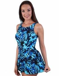 Jodee Blue Maze Soft Cup Pocketed Swim Dress, Women's (Style 2070)