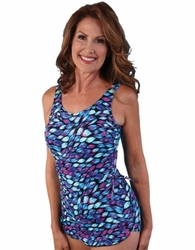 Jodee Dancing Ribbon Soft Cup Pocketed Sarong Swimsuit, Misses  (Style 2061)