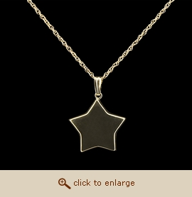 14K Gold Cremation Jewelry - Flat Star Pendant